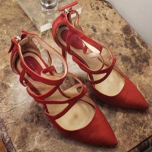 Zara red suede heels
